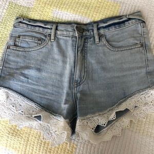 Free People High Waisted Shorts Lace Trim Size 26W